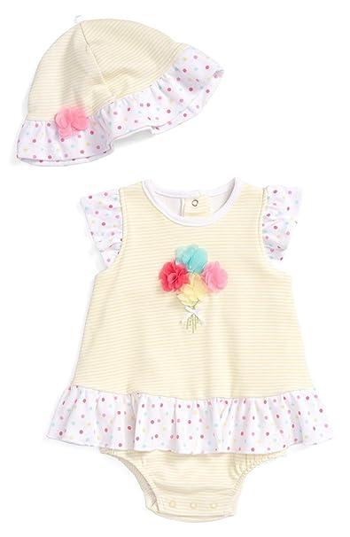 Amazon.com  Little Me Baby Girls Bouquet Applique Popover And Hat ... 08e4efb2c8e1