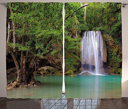 Birch Glass Waterfall (Waterfall Decor Curtains Waterfall in Nature Ambient in the Forest of Thailand with Oak Tree Living Room Bedroom Window Drapes 2 Panel Set Green and)