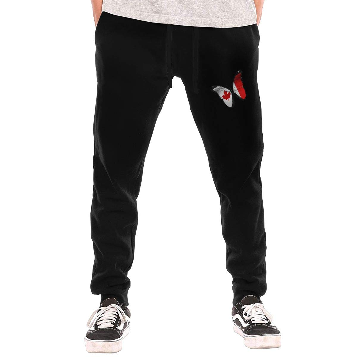 ZOE-SHOP Canada Flag Butterfly Mens Elastic Waist Casual Baggy Harem Pants Loose Lounge Trousers
