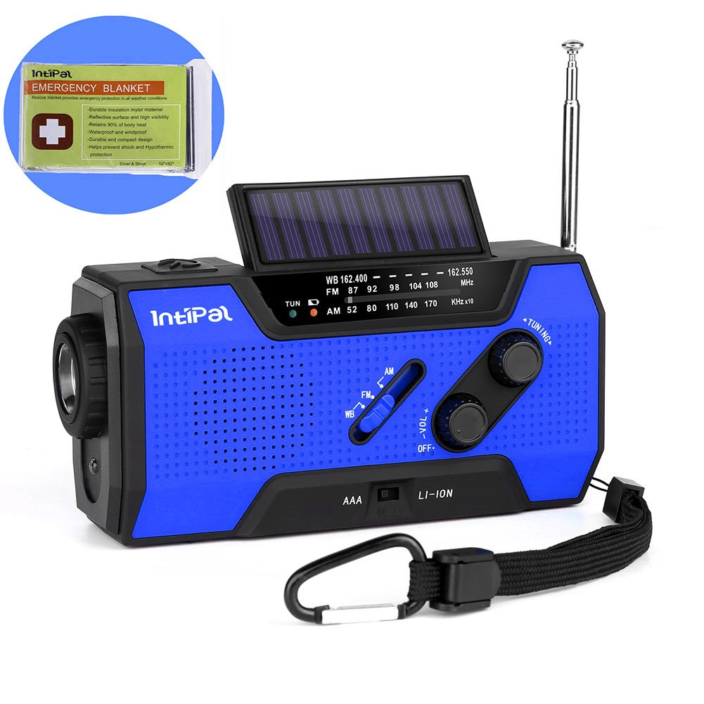 IntiPal 2000mAh Emergency Solar Hand Crank Radio with AM/FM/NOAA Weather Channel, 1W LED Bright Zoom Flashlight, 4 LED Reading Lamp, Support 4 Ways to Charge - with Emergency Blanket by IntiPal