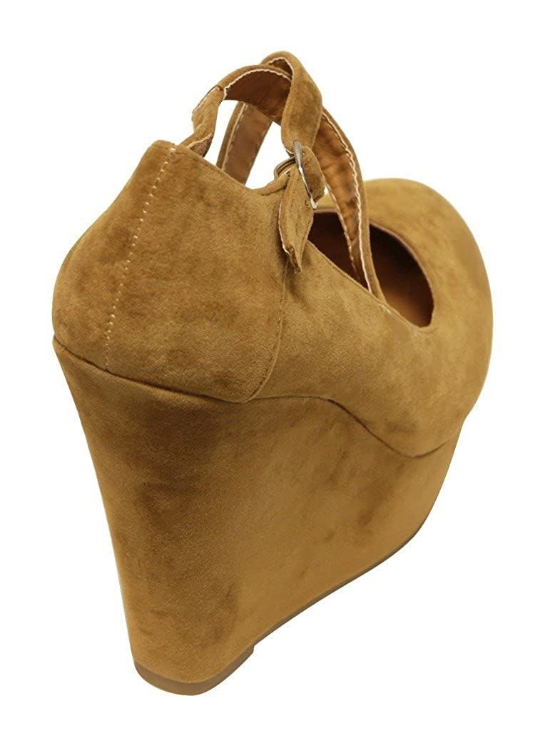 Delicacy Trendy-96 Womens Round Toe Suede Crossing Buckle Ankle Strap Platform Wedge Heel Pumps Shoes Tan 8