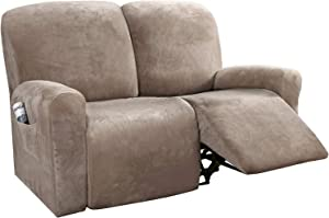 H.VERSAILTEX 6-Pieces Recliner Loveseat Covers Velvet Stretch Reclining Couch Covers for 2 Cushion Sofa Slipcovers Furniture Covers Form Fit Customized Style Thick Soft Washable(Medium, Taupe)