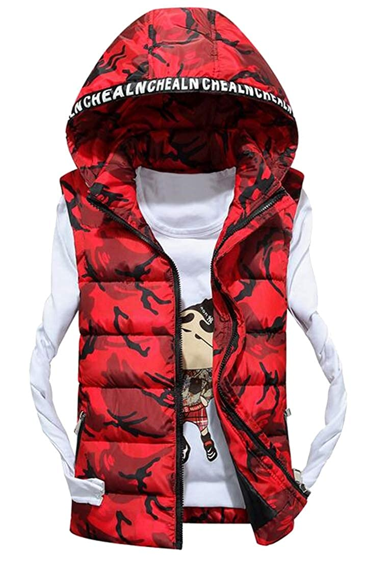 Jofemuho Mens Thicker Zip Up Winter Sleeveless Camo Hooded Down Quilted Coat Vest