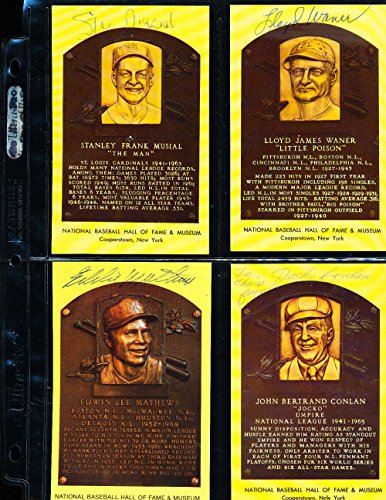 Stan Musial HOF Yellow Plaque Signed Post Card