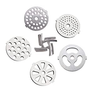 6 Piece Stainless Steel Meat Grinder Plate Discs Blades for Mixer and Chopper Attachment,Applicable 7-word outlets(Center Hole 7mm)