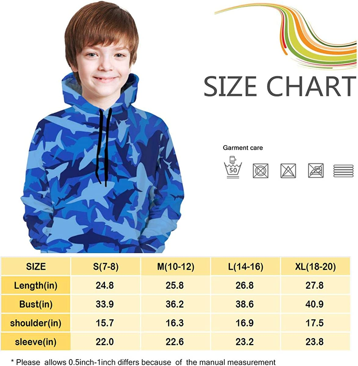 GuiJia Ye Boys Girls Hoodie Sweatshirts Fashion Blue Camo Shark Pullover Hoodies