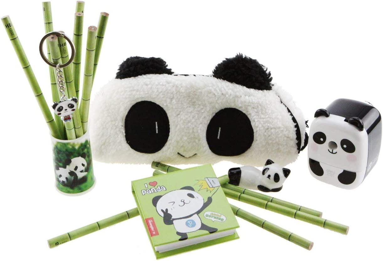 Adorable Panda Theme Stationery Set 6 Pieces Include 1 Pencil Holder with 12 Pencil 1 Key Chain 1 Pen Case 1 Sharpener 1 Memo Pad 1 Ceramic Panda Toy for Kids School Study Gift