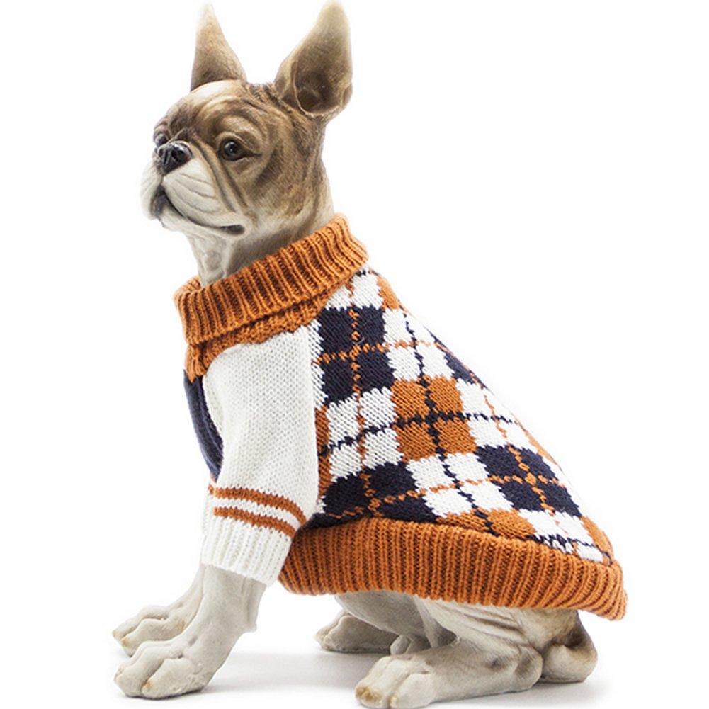 BOBIBI Dog Sweater of the Diamond Plaid Pet Cat Winter Knitwear Warm Clothes,Orange,XL