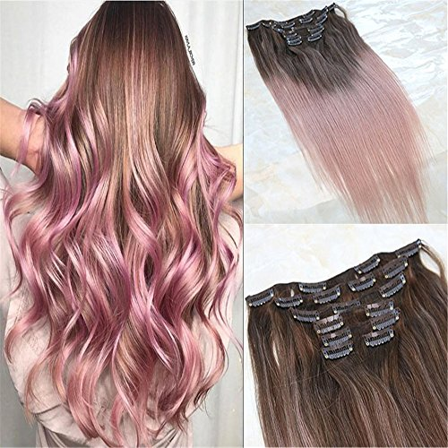"""HairDancing 14"""" 7Pcs 120 Gram Balayage Ombre Color Medium Brown Fading to Rose Gold Balayage Extensions of Remy Human Hair Clip in Extensions Human Real Hair Clip in Extensions"""