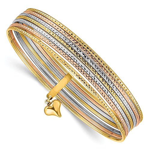 (14k Tri Color Yellow White Gold Slip On 7 Bangles Bracelet Cuff Expandable Stackable Bangle Fine Jewelry Gifts For Women For Her)