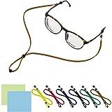 PAMASE 6 PACKS Adjustable Eyeglasses Holder Strap - Universal Fit Anti-slip Eyewear Retainer Cord for All Sunglasses & Eyeglasses - STYLISH ECO LEATHER