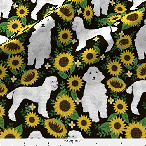 Spoonflower Sunflower Fabric Poodle Fabric White Poodles Sunflowers Design - Black by Petfriendly Printed on Fleece Fabric by the Yard - Poodle Black Fleece