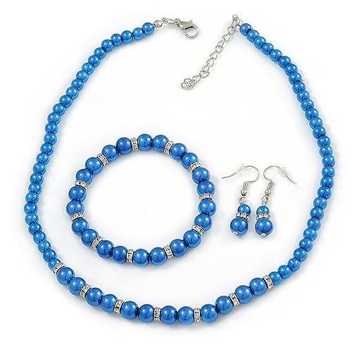 8e34cce68 5 mm, 7 mm, eléctrico azul cristal/pulsera con cuentas de cristal para