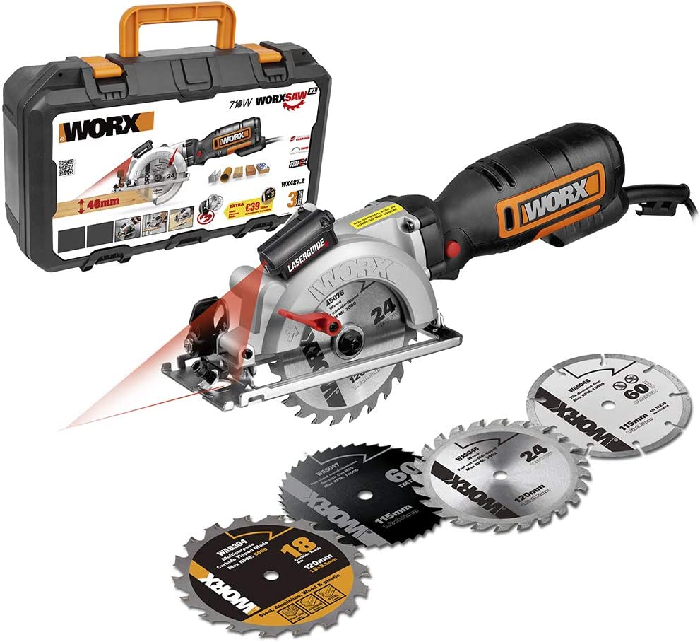 Worx WorxSaw XL WX427.2 - Sierra circular de mano (710W 46mm con 4 discos de corte)