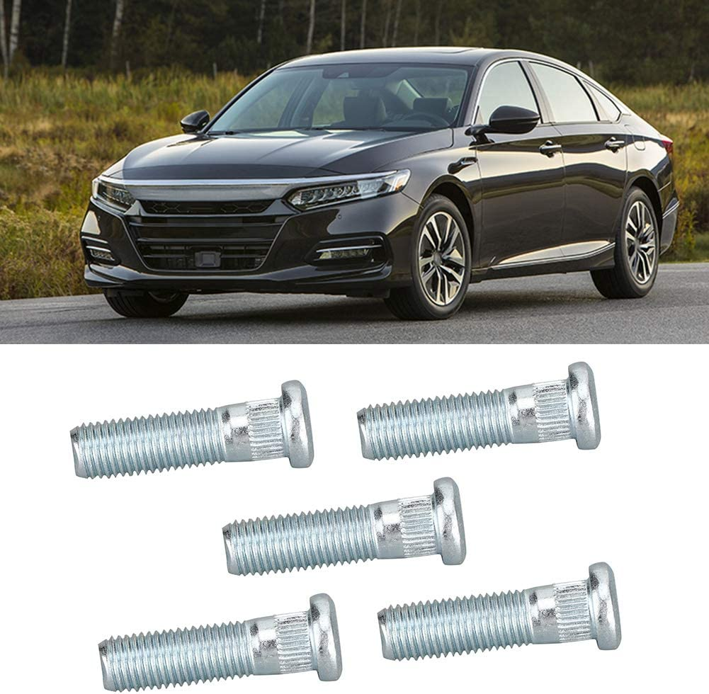 Replacement part 90113-S84-901 5Pcs Brake Serrated Metal Front Wheel Studs Compatible with HondaAccord 5-86204-486-0