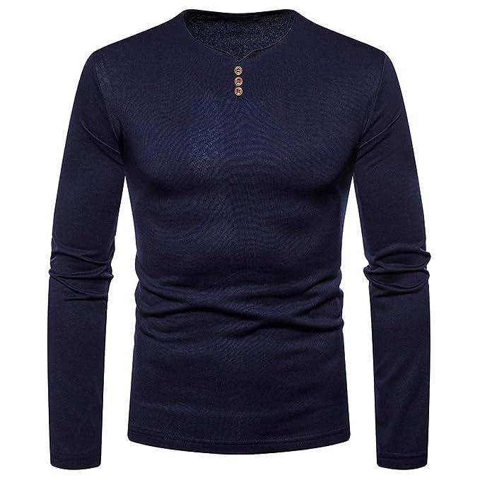 Overdose Blusa OtoñO Color SóLido Camisa De Manga Larga Casual Camiseta con Cuello En V Camiseta