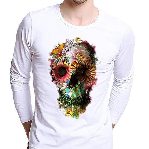 e1fa281d88873 Amazon.com  Anshinto Men Boy Plus Size Cool Skull Wolf Print Tees Bardian Long  Sleeve Cotton T-Shirt Tops White  Clothing