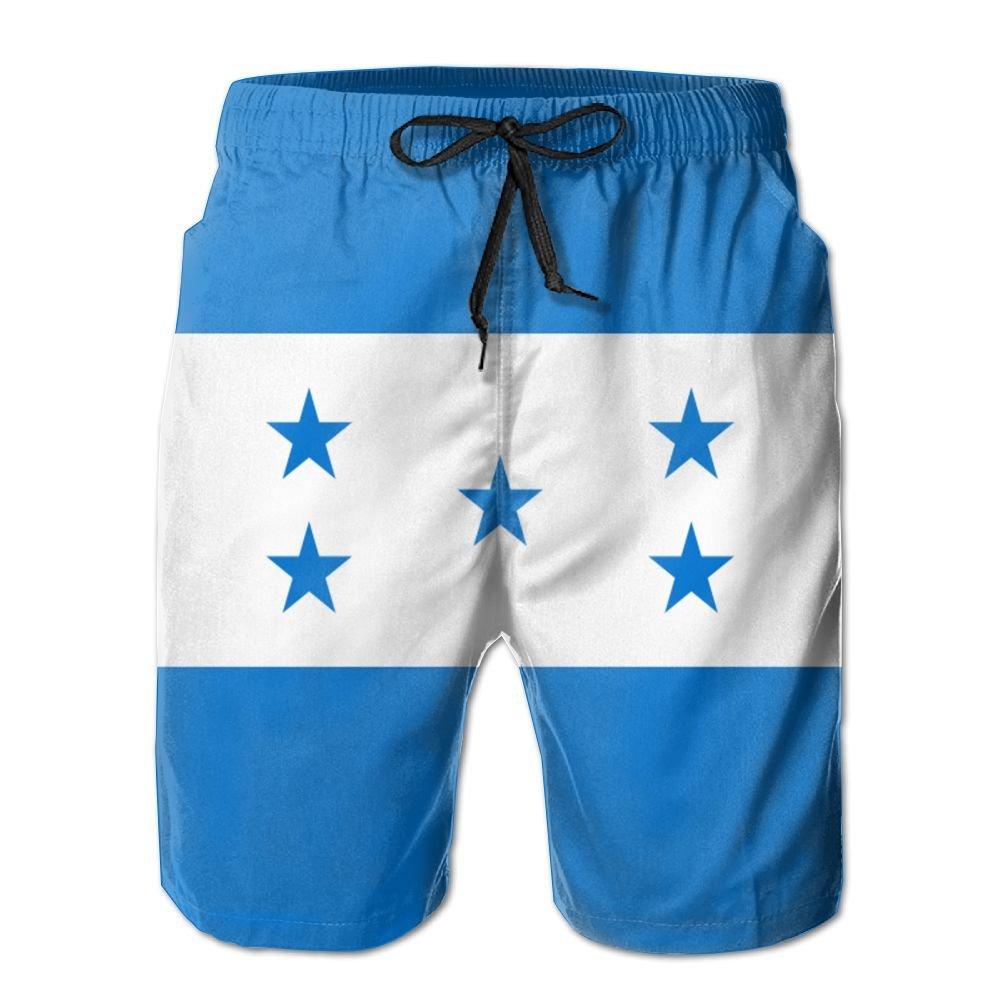 GYang Mens Beach Shorts Honduras Flag Summer Printed Swim Breathable Quick-Drying Shorts Swim Trunks Boardshorts