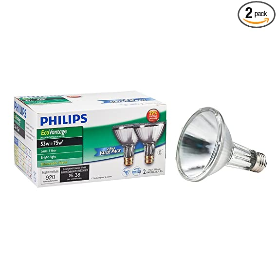 Philips 429365 Halogen PAR30L 75 Watt Equivalent 25 Degree Flood Light Bulb, 2 Pack - Incandescent Bulbs - Amazon.com