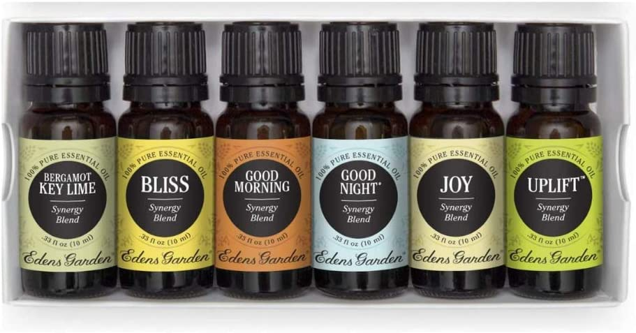 Edens Garden Good Mood Essential Oil 6 Set, Best 100% Pure Aromatherapy Uplifting Kit (for Diffuser- Energy & Stress), 10 ml