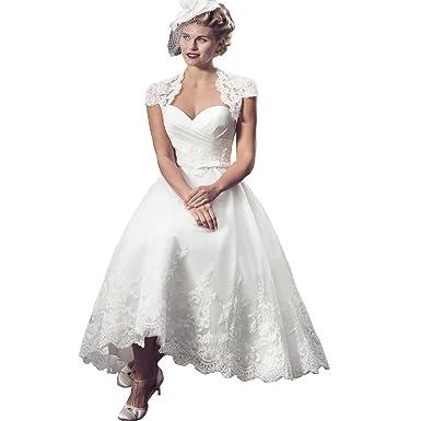 Yuxin Latest Sweetheart Appliques Tea Length Wedding Dress for Bride ...