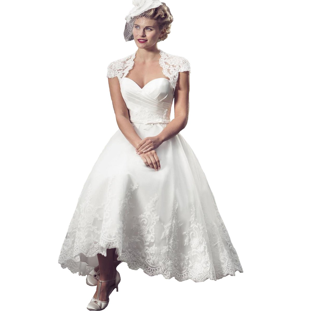 Vintage Style Wedding Dresses, Vintage Inspired Wedding Gowns Yuxin Lace Vintage Sweetheart Appliques Tea Length Wedding Dress 2018 Short Cap Sleeves A line Bridal Gown $119.00 AT vintagedancer.com