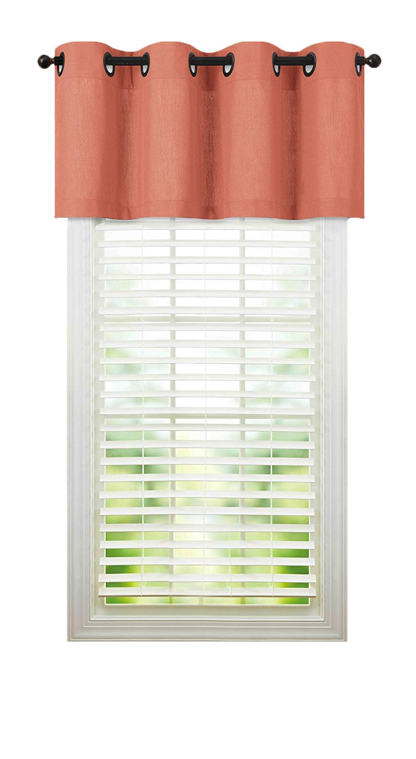 Regal Home Collections Luxurious Oversized Grommet Top Window Valance - Assorted Colors (Coral)