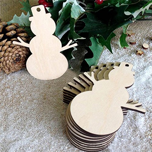Takefuns Snowman Blank Wood Discs Bulk with Holes