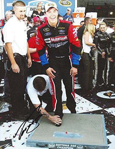 Motorcraft Racing (AUTOGRAPHED 2011 Trevor Bayne #21 Motorcraft Racing DAYTONA 500 RACE WINNER (Victory Lane Celebration) Cement Shoes Signed Collectible Picture NASCAR 9X11 Inch Glossy Photo with COA)