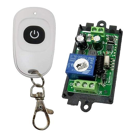 perfk AC 85V 260V Fernbedienung 433 MHz Empf/änger Sender Funksteuerung Funkfernbedienungsschalter Einzelne Taste