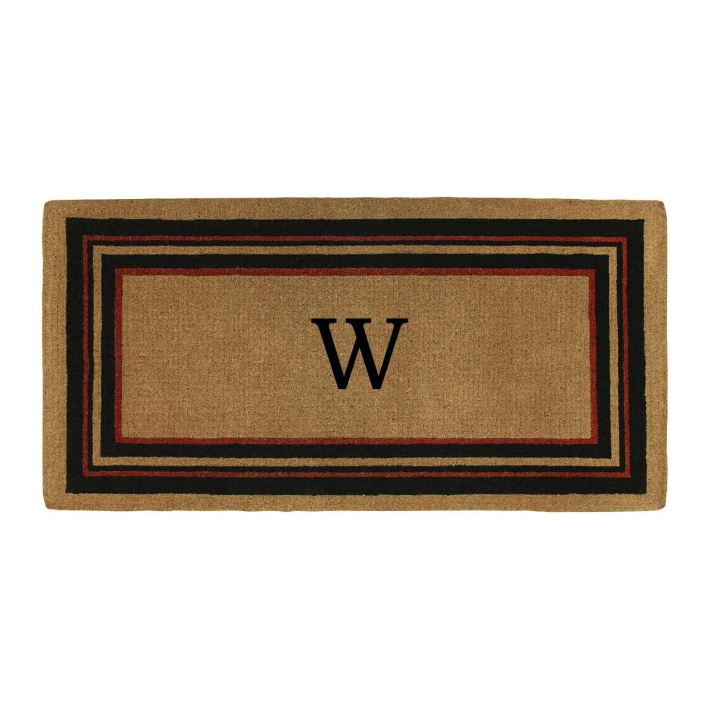 Home & More 180063672W Esquire Extra-thick Doormat, 3' x 6', Monogrammed Letter W, Natural/Black/Red by Home & More
