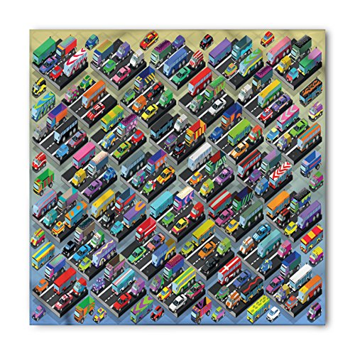 Cars Bandana by Ambesonne, Detailed Collection of Various Vehicles Parked Cars Buses Trucks Vans in Many Colors, Printed Unisex Bandana Head and Neck Tie Scarf Headband, 22 X 22 Inches, Multicolor (Vans Neck Face)