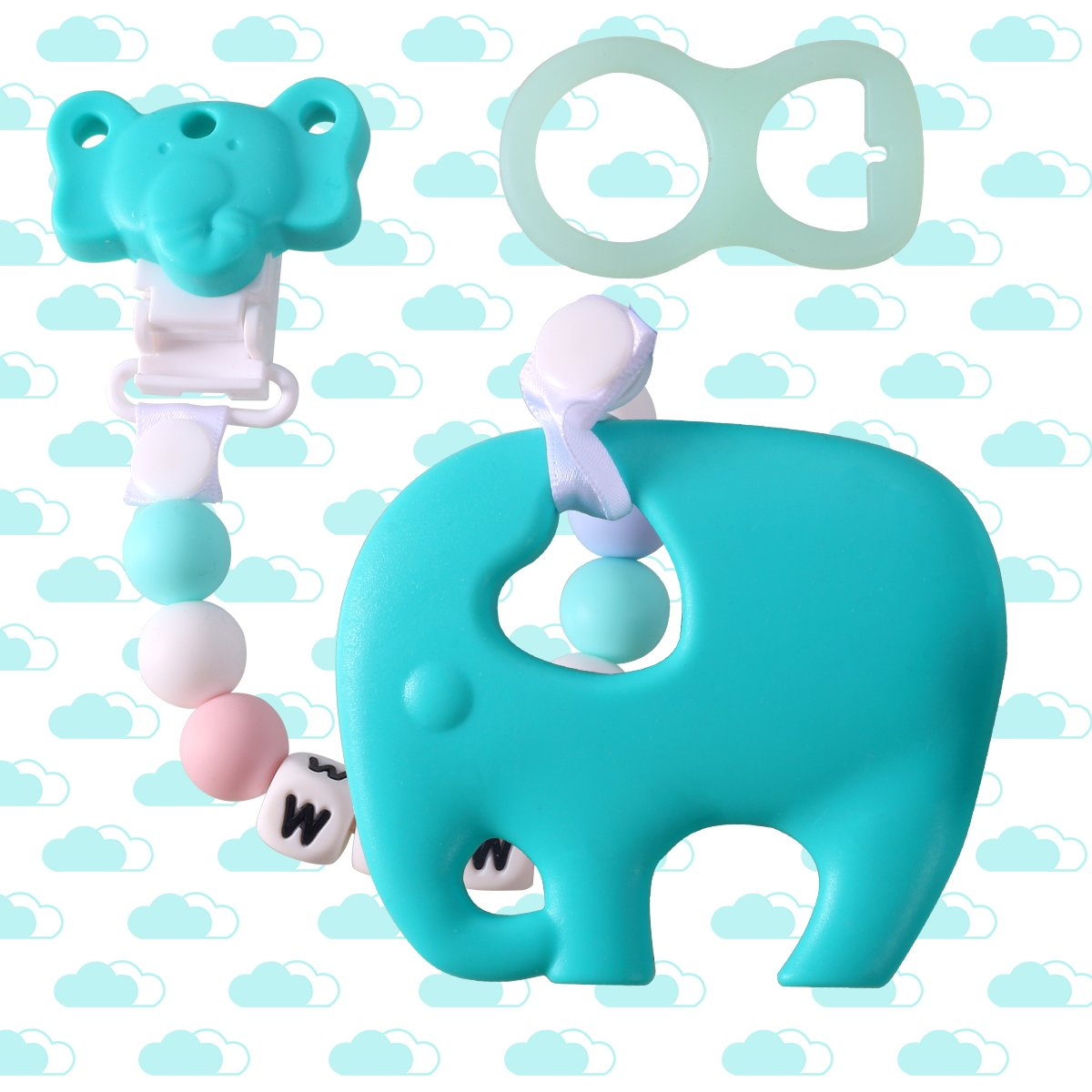 Baby Silicone Teething Toys BPA Free, DIY Elephant Teether with Pacifier Clip Holder Set Teething Pain Relief Toy Gums Chew for Newborn Infant Toddler Baby Yinuoday