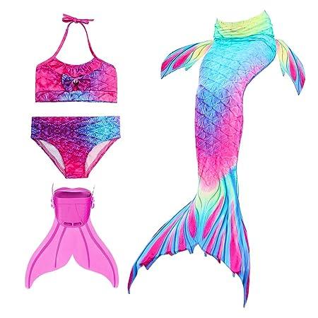 Modaka Traje de Baño de la Cola de la Sirena para Las Muchachas 4PCS fijado para Nadar con Monofin