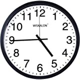 WISKALON 10 inch Wall Clock,Silent Non-Ticking Elegant Black Frame Wall Clock,Classic Digital Wall Clock with Glass…
