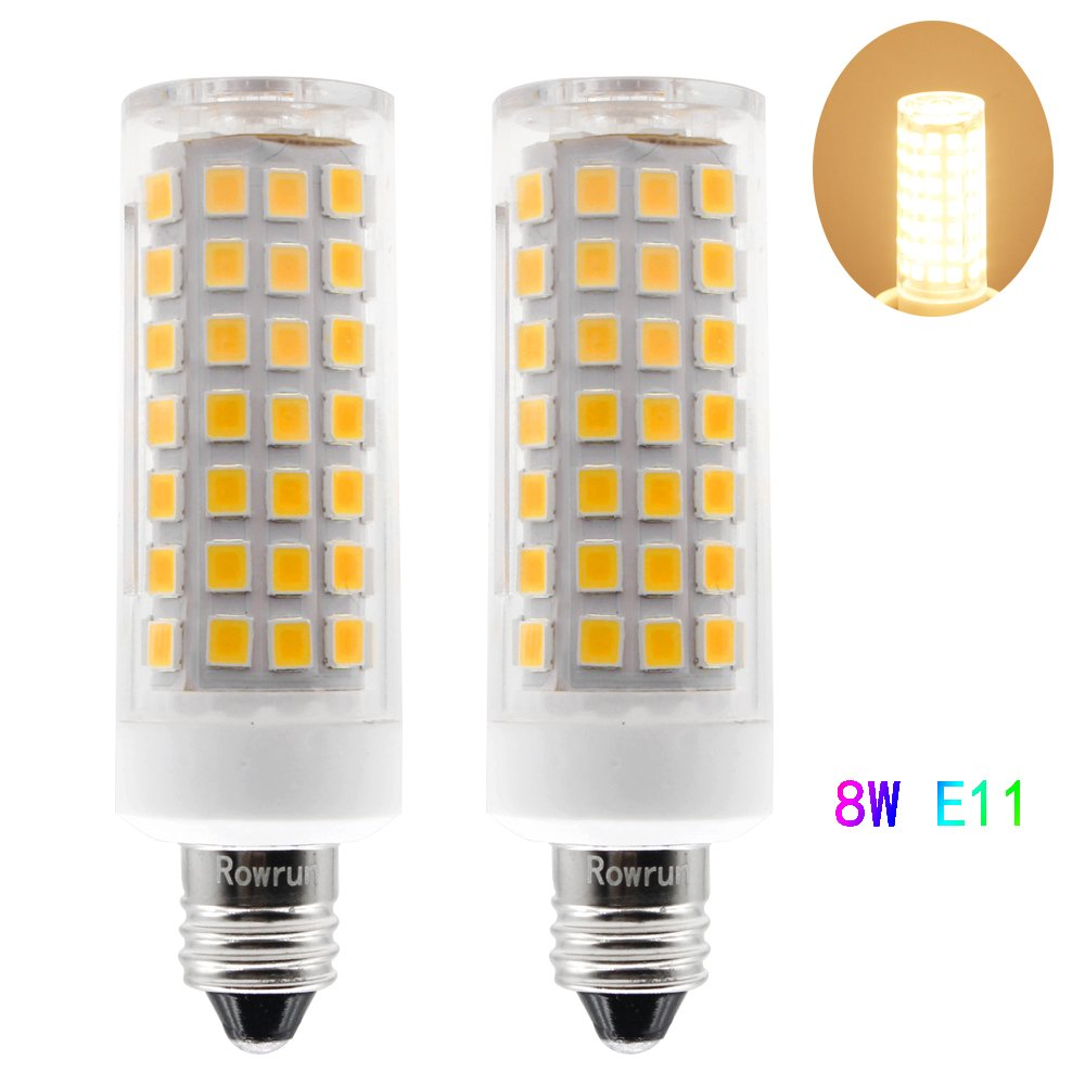 Rowrun E11 LED 8 Watts Dimmable Light Bulb, 50W Halogen Bulbs Equivalent for Ceiling Fan, Indoor Decorative Lighting, 2835SMD, 90/pcs Leds, 600LM, Warm White(3000K), Pack of 2