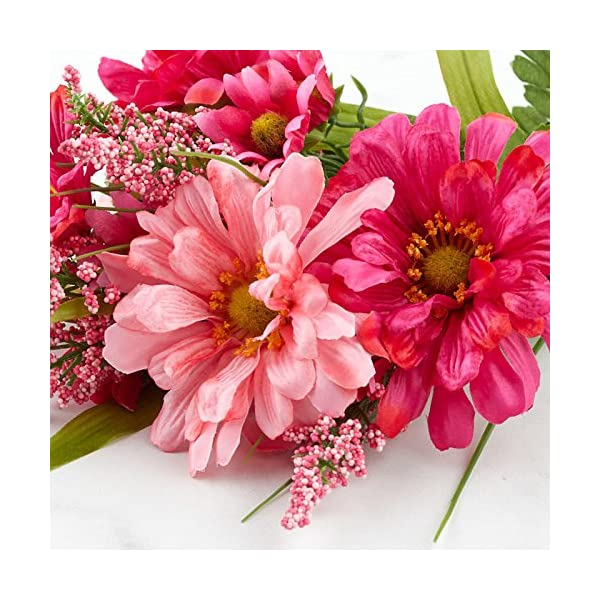 Factory Direct Craft Artificial Hues of Pink Zinnia Floral Bush for Indoor Home Decor