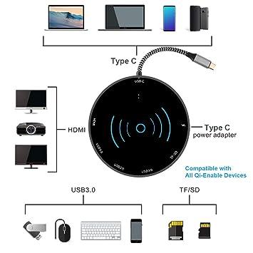 Alfzero USB C Hub con Cargador inalámbrico, Puerto USB Tipo C ...