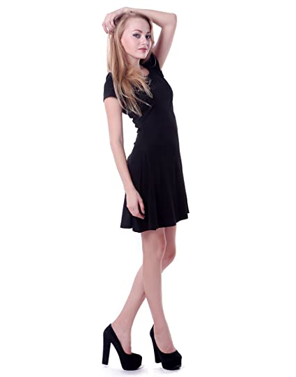 cea103216c HDE Women s Casual Cotton Jersey Knit Short Sleeve Slip-On Mini Skater Dress  (Black