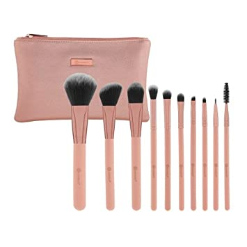 c847b831c5a2e Amazon.com  Pretty in Pink - 10 Piece Brush Set with Cosmetic Bag  Beauty