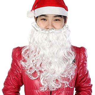 BESTOYARD Barba di Babbo Natale Ricci Natale per Puntelli di Prestazioni di Natale Barba (Bianco)