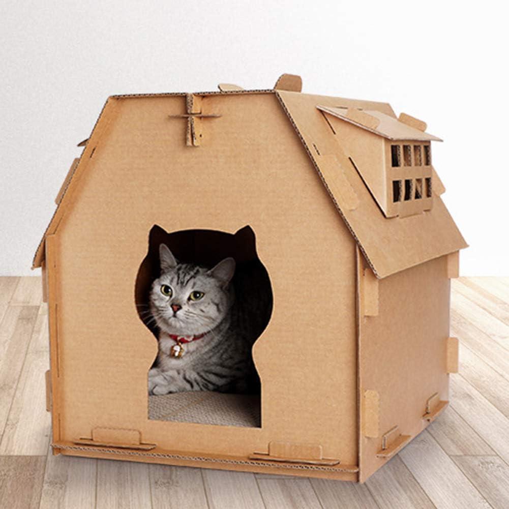 LNIMIKIY casa de Gato Caja de cartón para raspar Tablero de cartón Corrugado Juguetes de Papel para Interior Muebles Tienen pequeñas Herramientas de Ventana Suministros de Montaje para Mascotas DIY: Amazon.es: Productos