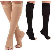 Compression Socks Relieve Varicose Veins Medical Open Toe 18-21mmHg Women Men (Black)