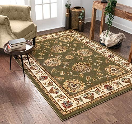 "Sultan Sarouk Green Persian Floral Oriental Formal Traditional 8x11 8x10 7'10"" x 10'6"" Area Rug Easy to Clean Stain / Fade Resistant Shed Free Contemporary Thick Soft Plush Living Dining Room Rug"
