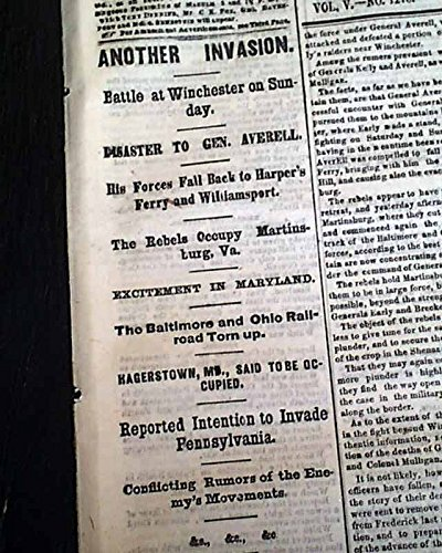 BATTLE OF RUTHERFORD'S FARM Winchester VA & Martinsburg 1864 Civil War Newspaper THE WORLD, New York, July 27, 1864
