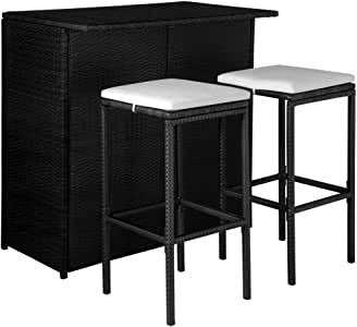 vidaXL Juego de Bar para Jardín Ratán Sintético Negro Crema 5 Piezas Mueble: Amazon.es: Hogar