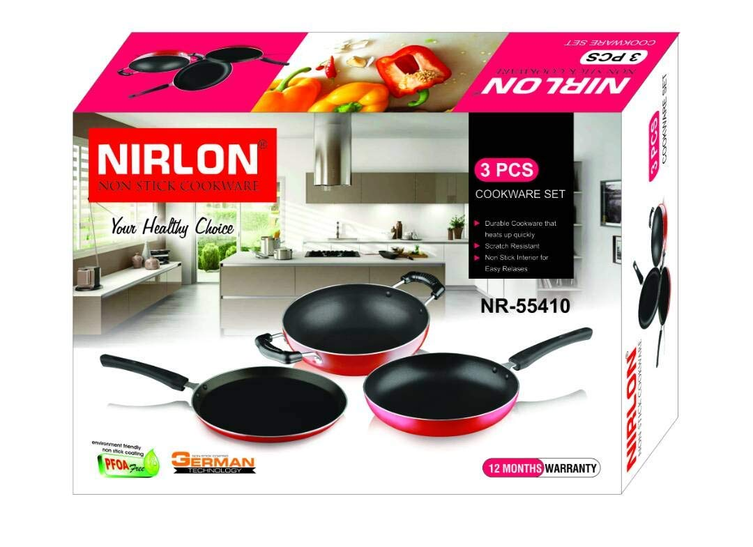 Nirlon 3-Piece Aluminium Non Stick Non Induction Cookware Gift Set