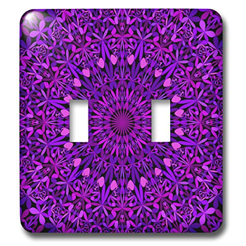 3dRose David Zydd - Floral Mandalas - Purple Leaves Kaleidoscope Mandala - abstract geometry in boho style - Light Switch Covers - double toggle switch (lsp_300480_2)