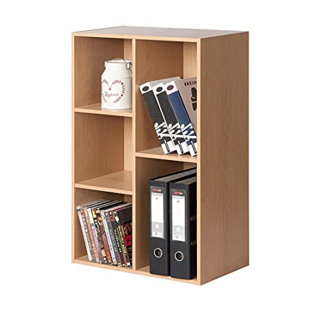 SJ Bookcase Wooden Square 5 Compartments Cabinets Bedroom Bookshelf Maple Size 80 238 50cm