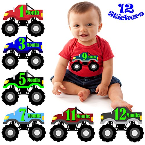 Monster Truck Milestone Month Stickers For Baby Boy - Includes Months 1-12
